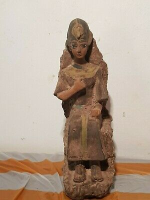 Rare Antique Ancient Egyptian King Pharaoh Ramses on Throne Crown War1279–1213BC