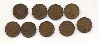 Lot of 9 Indian Cents : 1890 1891 1892 1893 1895 1896 1897 1898 1899 All Good +