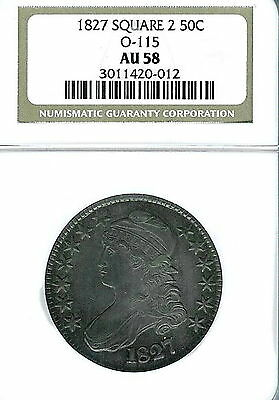 1827  Square Base 2 Capped Bust Half Dollar : NGC AU58  Overton 115