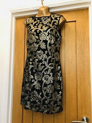 Lipsy Black Gold Sequin Fitted Bodycon Backless Dress Size 10 Party Xmas Evening