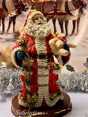 Father Christmas Figurine Ornament Decoration Resin On Stand-Lovely Condition