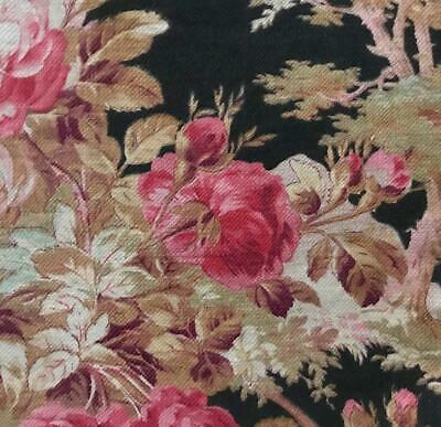 BEAUTIFUL 19th CENTURY FRENCH NAPOLEON III LINEN COTTON, PINK ROSES  c1870 358
