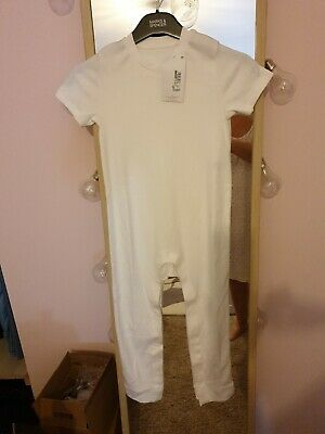 White M&S SPECIAL NEEDS / EASY DRESSING PURE COTTON SLEEPSUIT AGE 5-6YRS