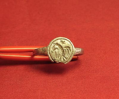 Medieval Knight's Silver Seal Ring - Bird Seal, 12. Century
