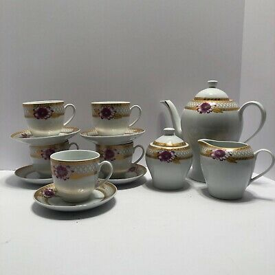 Joseph Sedgh Tableware 13 Pc Tea Coffee Set Gold & pink Floral Teapot Sugar