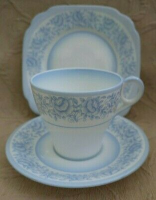 vintage 1930s art deco BELL CHINA TEA TRIO blue roses on white CUP SAUCER PLATE