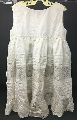 Vintage Toddlers Girls White Slip Petticoat Lace Inserts & Tucks Victorian As Is