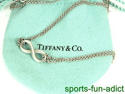 TIFFANY & CO Infinity Sterling Silver Round Link Double Chain Necklace w pouch