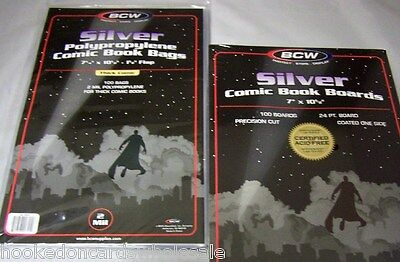 100 BCW Silver Age Comic Book Archival 2-mil Poly Bags + Acid Free Backer Boards
