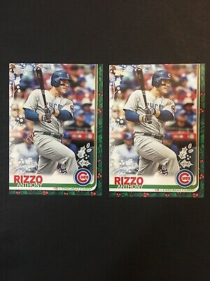 2019 Topps Holiday Box ANTHONY RIZZO RARE SSP Photo Variation ~Candy Cane~SP 064