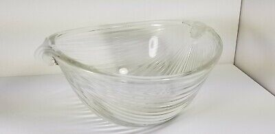 Crystal clear frosted heavy glass bowl Shell shaped art deco
