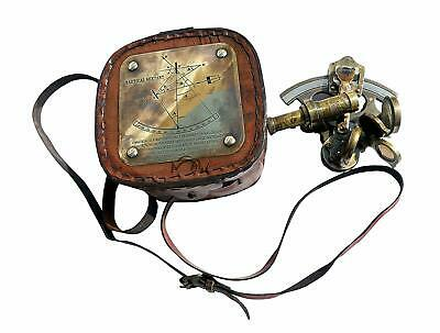 Vintage Best Astrolabe Brass Sextant with Leather Box Christmas Day Gift
