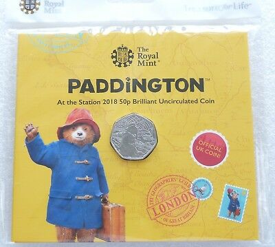 2018 Royal Mint Paddington Bear at the Station 50p Fifty Pence Coin Pack Sealed