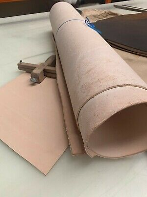 3mm 5 SQFT VEG TAN LEATHER NATURAL TANNED HIDE - TOOLING & CRAFT + LENGTHS
