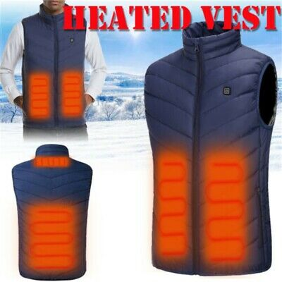 Mens Womens Electric USB Heated Vest Coat Jacket Warm Up Heating Pad Body Warmer