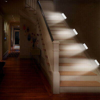 6LED Wireless PIR Motion Sensor Cabinet Cupboard Light Hallway Stairs Wall Lamp