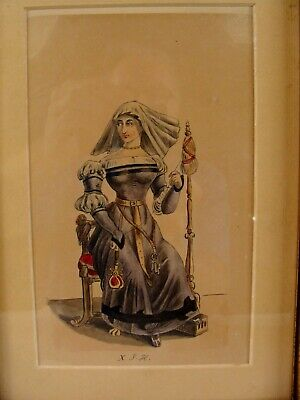 Antique 17C Costume Seated Woman on Throne Watercolor Painting #7