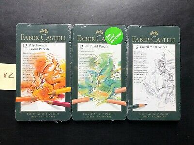 Faber Castell - 9000 Art Set 12 / Pitt Pastel / Polychromos Colour LOT OF 3 PACK
