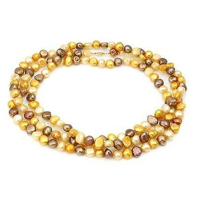 Stunning Solid 14K Yellow Gold Genuine Freshwater  Pearl Necklace  U$569