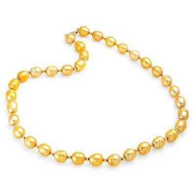 Exquisite Solid 14K Yellow Gold Genuine Freshwater Pearl Necklace