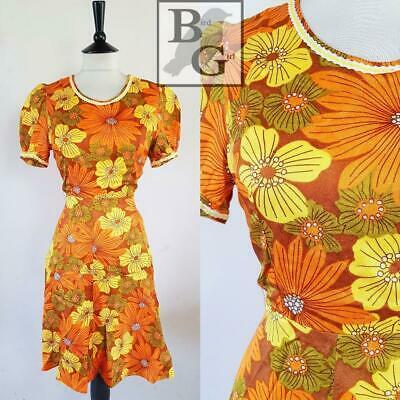 Retro Floral Print 1960S Vintage Brown Puffed Sleeve Twiggy Mini Dress 6-8 Xs