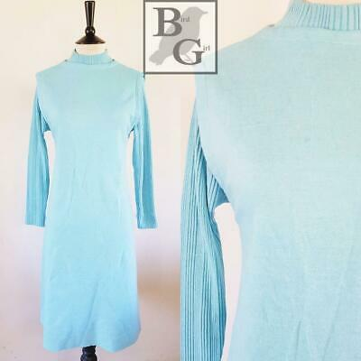 Leslie Fay Knits 1960S Vintage Duckegg Blue Wool Mod Scooter Shift 8-10 Sdress