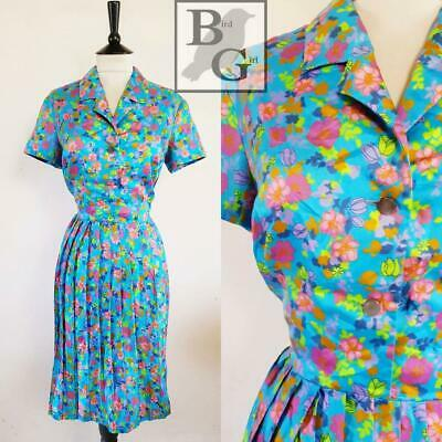 Retro Floral Print 1960S Vintage Blue Pleated Kooky Tea Dress 12 M