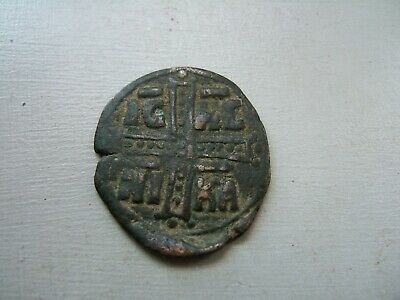 11th CENTURY  BRONZE  BYZANTINE  FOLLIS  COIN.........     BER..