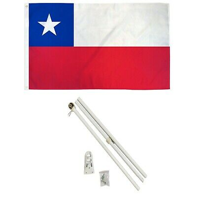 3x5 Chile Flag with 6 Foot White Steel Flag Pole with Ball and Bracket Chilean