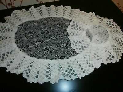 TWO VINTAGE 1960's  RETRO  WHITE NYLON LACE TABLE MATS or DOILIES ~ FRILLED