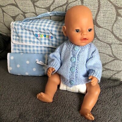 "16"" Baby Born Boy Doll with Nappy and Changing Bag with Combined Changing Mat."