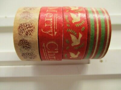 4 Reels Dovecraft Traditional Christmas Washi Tape - Pine Cones Doves Merry
