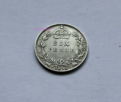 1893 Queen Victoria Silver Sixpence 6d British English 92.5% Silver