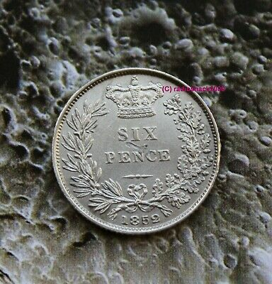 1852 Queen Victoria Silver Sixpence 6d British English 92.5% Silver