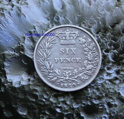 1859 Queen Victoria Silver Sixpence 6d British English 92.5% Sterling silver