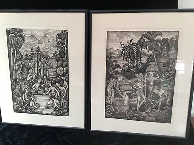 Antique pr south East Asian watercolor paintings cock fighting & crop picking