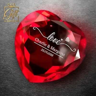 Personalized Customized Engraved Paperweight Heart Shape Red Ruby Crystal