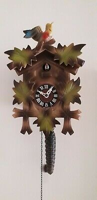 German Vintage Cuckoo Clock With Quarter Hour Cuckoo Colourful Fascia & Working