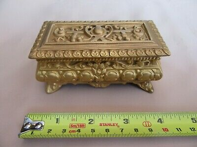 Stamp box - heavy cast and gilded metal