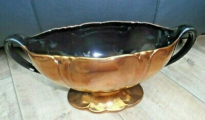 Art deco Beswick copper lustre gold and black mantel vase Constance spry style