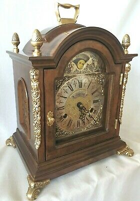 Warmink Mantel Clock Bracket Shelf Moon Dial Nut Wood 8 Day Key Wind Vintage
