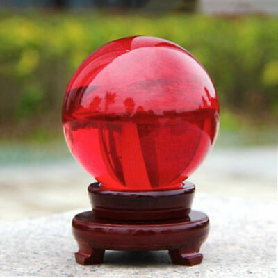 Red Crystal Photography Lens Ball Photo Prop Background Quartz Ball Home Decor