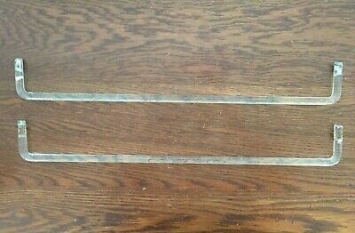 """Lot of 2 Vintage Clear Glass Towel Bar Rod Replacement Bathroom Fixture 24"""""""