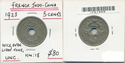 French Indo China 1923 5 Cents KM-18 UNC