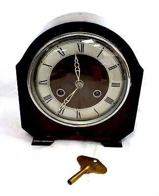 Vintage Art Deco BENTIMA 8 Day Striking Clock PERIVALE Movement With Key - I02