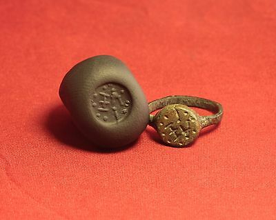 Ancient Roman Seal Ring, 5. Century. Monogram Stamp - Very Rare!
