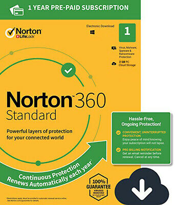 Norton 360 Standard - 3 PC - Windows - Internet Security - 2 Year Subscription