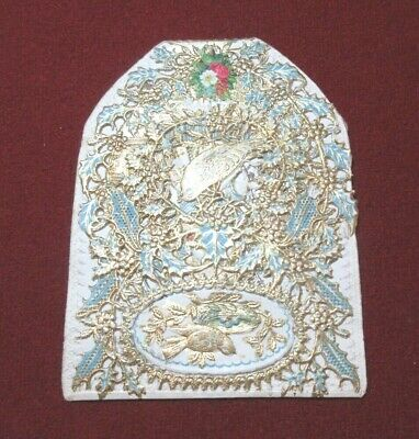 ORNATE ANTIQUE BIRTHDAY GREETINGS CARD LATE 1800's DIE CUT POLYCHROME  FOLD OUT