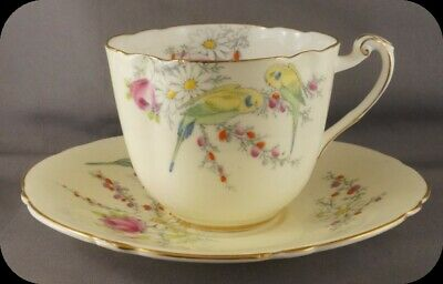 Paragon Princess Margaret Rose Parakeets Cup and Saucer White Bowl 1930 (2 avail