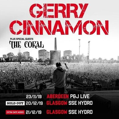 2 Standing Tickets For Gerry Cinnamon, 20th December 2019, HYDRO, GLASGOW